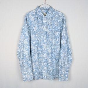 Men's Blue Paisley Long Sleeve Button Down Shirt